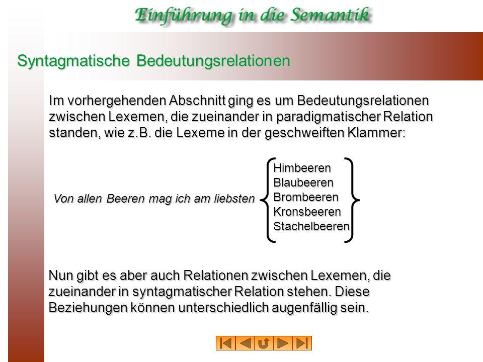 Syntagmatische Bedeutungsrelationen Im vorhergehenden Abschnitt ging es um Bedeutungsrelationen zwischen Lexemen, die zueinander in paradigmatischer R