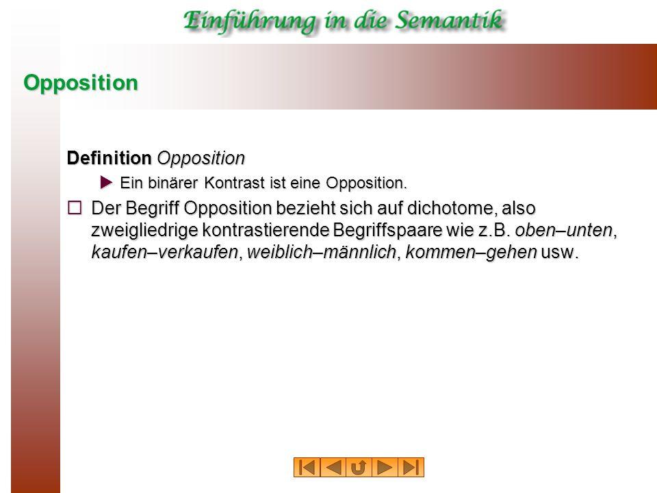 Opposition Definition Opposition Ein binärer Kontrast ist eine Opposition. Ein binärer Kontrast ist eine Opposition. Der Begriff Opposition bezieht si