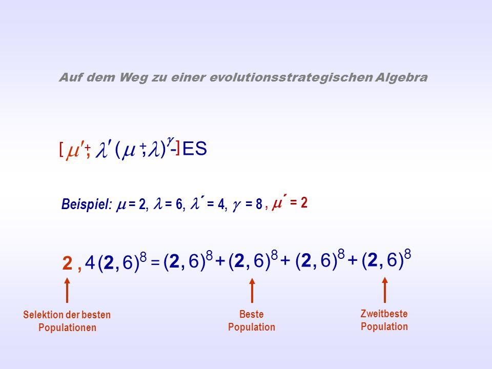 ( ) - ES +, Auf dem Weg zu einer evolutionsstrategischen Algebra Beispiel: = 2, = 6, ´ = 4, = 8 = (2, 6) 8 + (2, 6) 8 4 (2, 6) 8 2,2, Beste Population