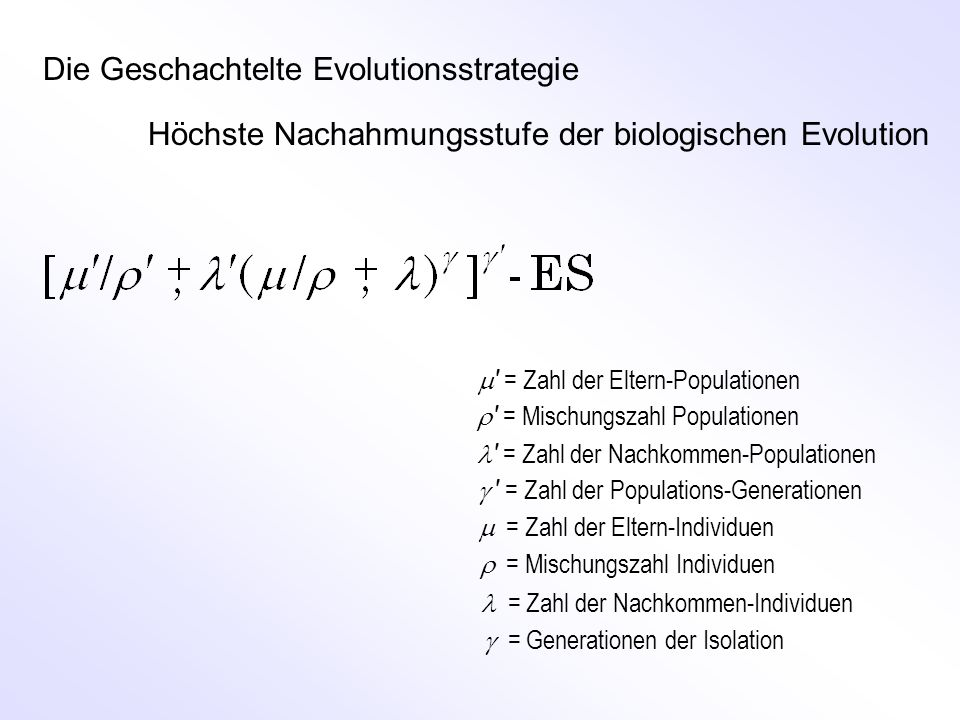 M ATLAB -Programm der (1, ) ES v=100; gg=1000; kk=10; xe=ones(v,1); de=1; aa=1.5; for g=1:gg qb=1e+20; for k=1:kk dn=de*aa^(2*round(rand)-1); xn=xe+dn*randn(v,1)/sqrt(v); end end Erzeugung eines mutierten Nachkommen