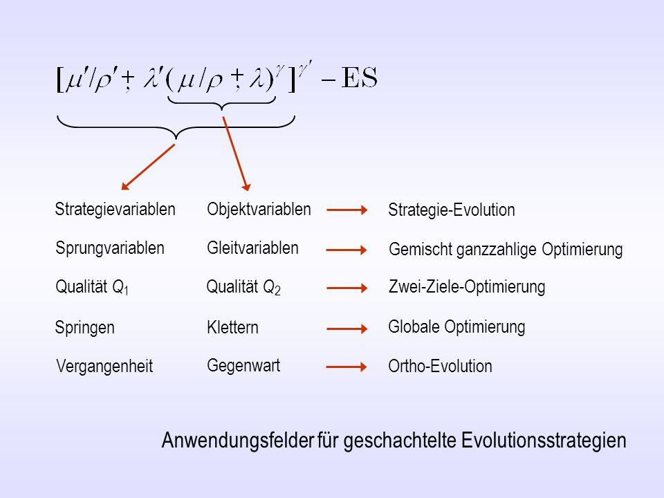 Zum Kopieren (Qualitätsfunktion = Zigarre ) v=100; gg1=1000; kk1=2; xe1=ones(v,1); de1=1; aa1=1.5; gg0=50; kk0=10; xe0=ones(v,1); de0=1; aa0=1.0; oo=ones(v,1); for g1=1:gg1 qb1=1e+20; for k1=1:kk1 dn1=de1*aa1^(2*round(rand)-1); xn1=xe1+0*randn(v,1)/sqrt(v); de0=dn1; xe0=xn1; for g0=1:gg0 qb0=1e+20; for k0=1:kk0 dn0=de0*aa0^(2*round(rand)-1); xn0=xe0+dn0*randn(v,1)/sqrt(v)+oo*randn/sqrt(v); qn0=xn0(1)^2+1000*sum(xn0(2:v).^2); if qn0 < qb0 qb0=qn0; db0=dn0; xb0=xn0; end qe0=qb0; de0=db0; xe0=xb0; end dn1=de0; xn1=xe0; qn1=xn1(1)^2+1000*sum(xn1(2:v).^2); if qn1 < qb1 qb1=qn1; db1=dn1; xb1=xn1; end qe1=qb1; de1=db1; oo=xb1-xe1; xe1=xb1; semilogy(g1,qe1, b. ) hold on; drawnow; end M ATLAB -Programm einer geschachtelten Ortho-ES