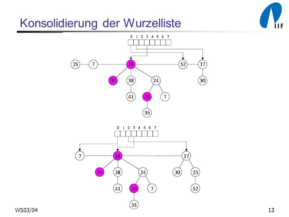 13WS03/04 Konsolidierung der Wurzelliste