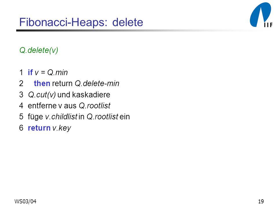 19WS03/04 Fibonacci-Heaps: delete Q.delete(v) 1 if v = Q.min 2 then return Q.delete-min 3 Q.cut(v) und kaskadiere 4 entferne v aus Q.rootlist 5 füge v