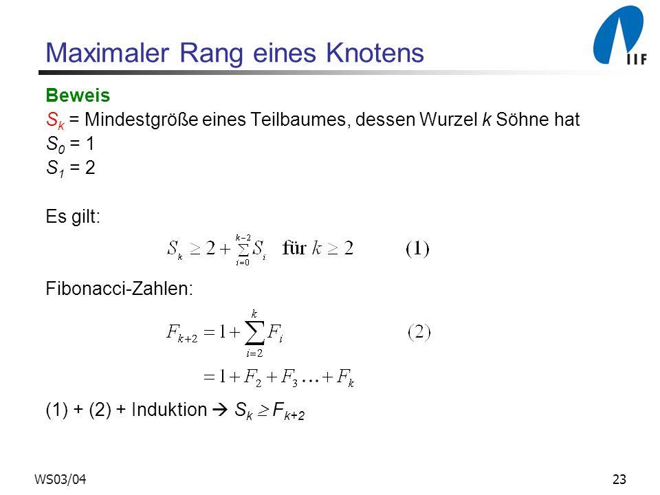 23WS03/04 Maximaler Rang eines Knotens Beweis S k = Mindestgröße eines Teilbaumes, dessen Wurzel k Söhne hat S 0 = 1 S 1 = 2 Es gilt: Fibonacci-Zahlen