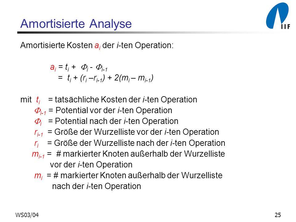 25WS03/04 Amortisierte Analyse Amortisierte Kosten a i der i-ten Operation: a i = t i + i - i-1 = t i + (r i –r i-1 ) + 2(m i – m i-1 ) mit t i = tats