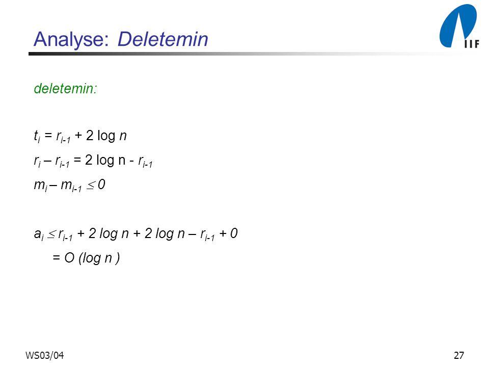 27WS03/04 Analyse: Deletemin deletemin: t i = r i-1 + 2 log n r i – r i-1 = 2 log n - r i-1 m i – m i-1 0 a i r i-1 + 2 log n + 2 log n – r i-1 + 0 =