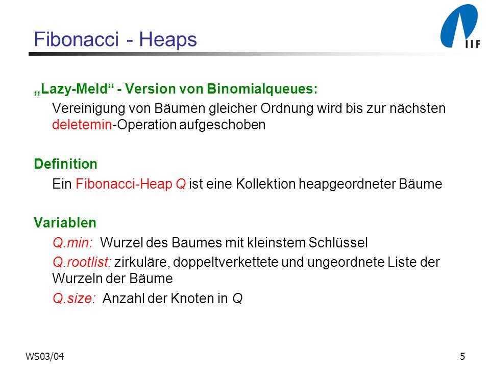 5WS03/04 Fibonacci - Heaps Lazy-Meld - Version von Binomialqueues: Vereinigung von Bäumen gleicher Ordnung wird bis zur nächsten deletemin-Operation a
