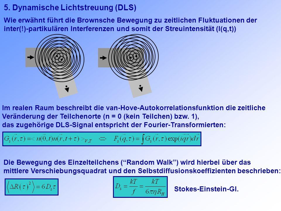 5. Dynamische Lichtstreuung (DLS) Wie erwähnt führt die Brownsche Bewegung zu zeitlichen Fluktuationen der inter(!)-partikulären Interferenzen und som