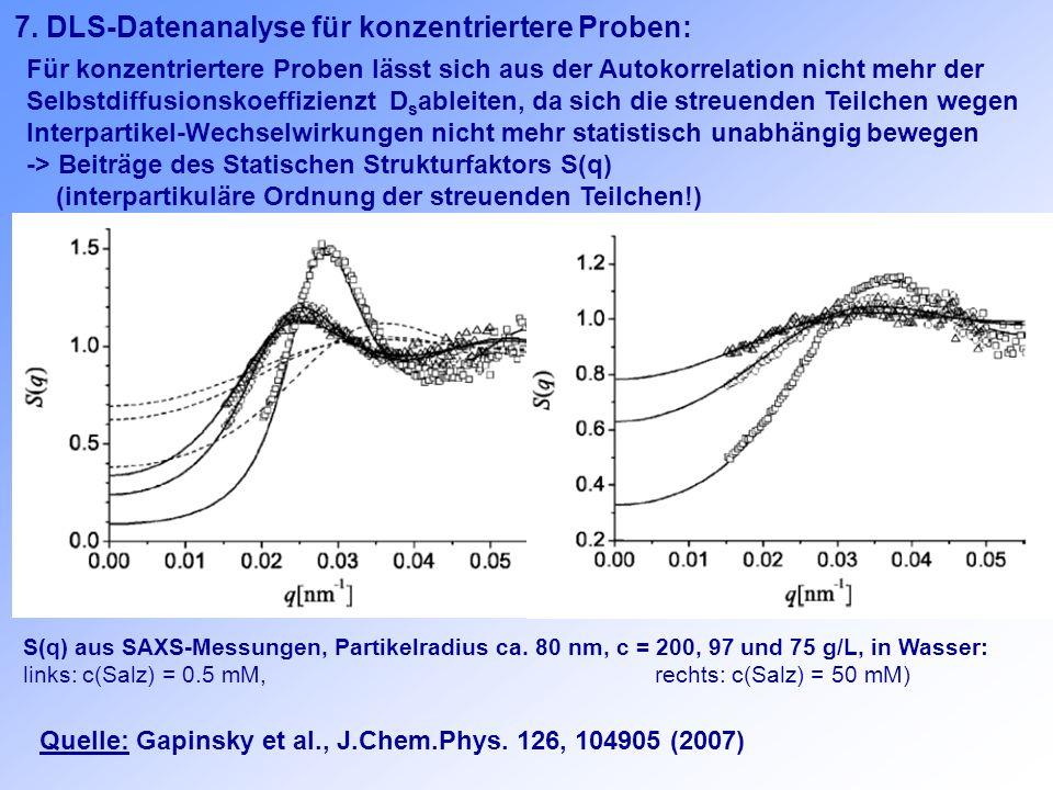 Für konzentriertere Proben lässt sich aus der Autokorrelation nicht mehr der Selbstdiffusionskoeffizienzt D s ableiten, da sich die streuenden Teilche