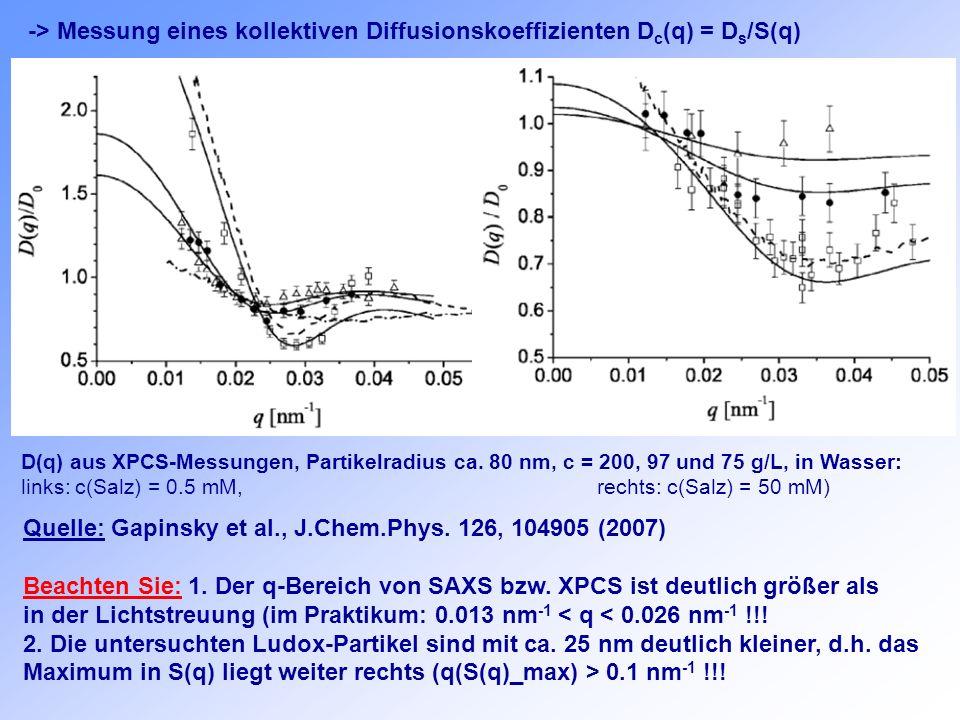 -> Messung eines kollektiven Diffusionskoeffizienten D c (q) = D s /S(q) Quelle: Gapinsky et al., J.Chem.Phys. 126, 104905 (2007) Beachten Sie: 1. Der