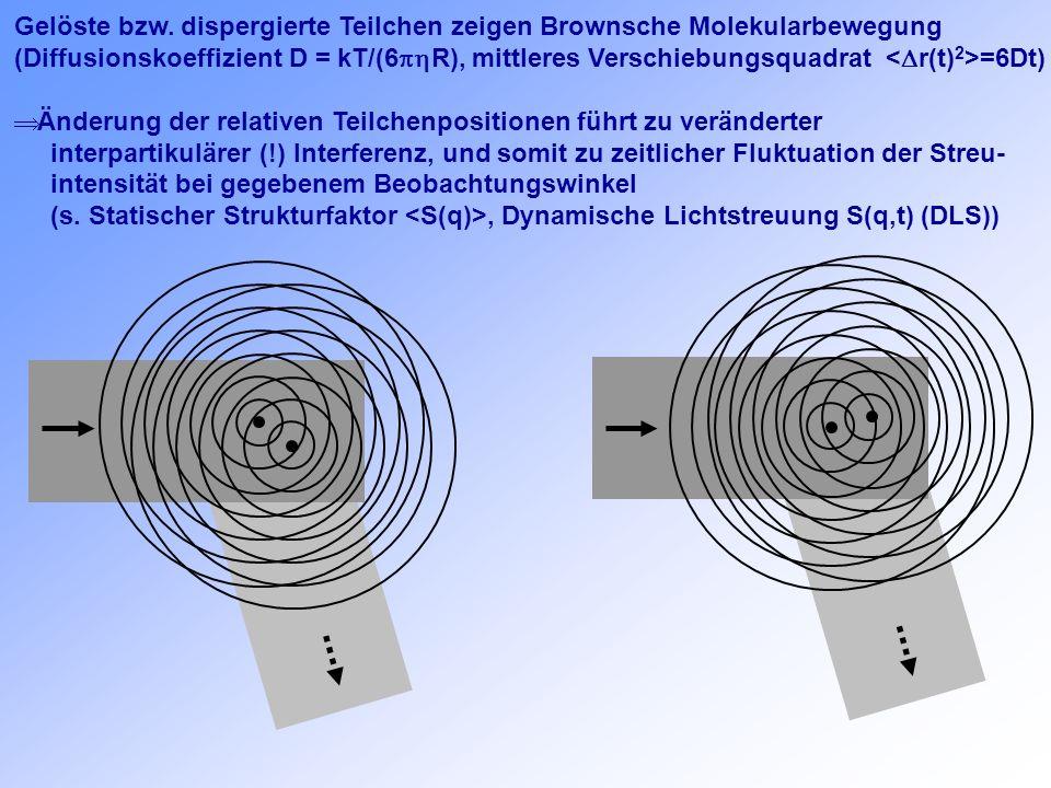 Gelöste bzw. dispergierte Teilchen zeigen Brownsche Molekularbewegung (Diffusionskoeffizient D = kT/(6 R), mittleres Verschiebungsquadrat =6Dt) Änderu