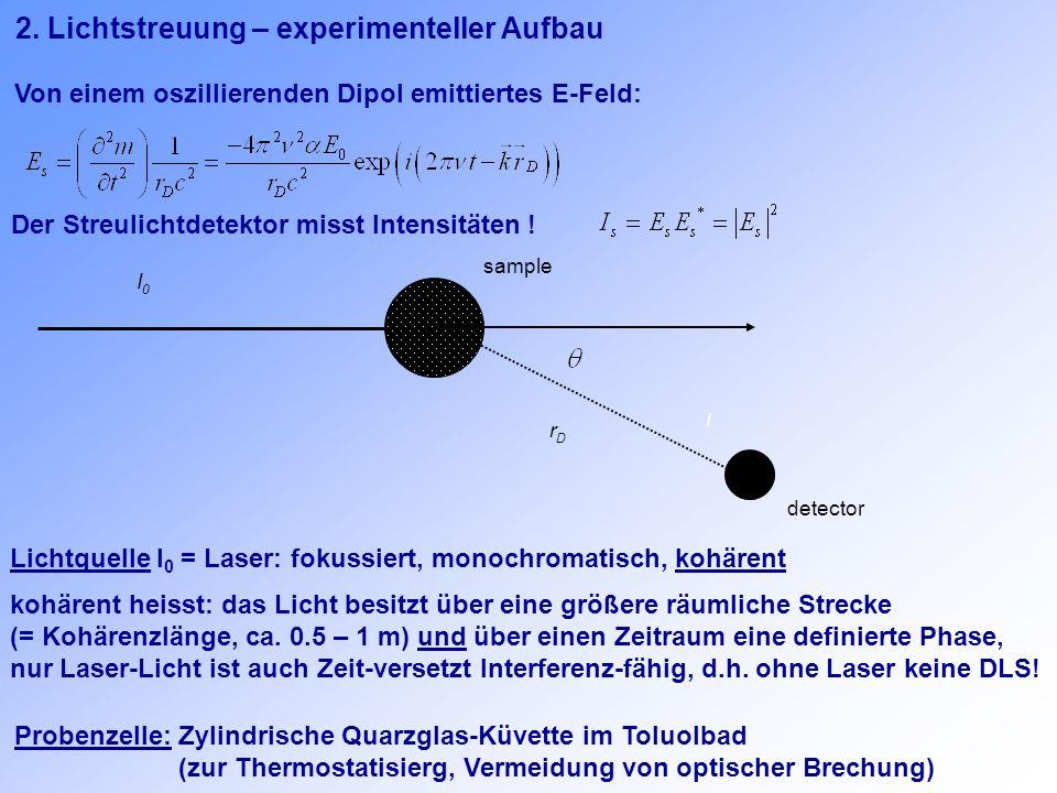 2. Lichtstreuung – experimenteller Aufbau Der Streulichtdetektor misst Intensitäten ! detector rDrD I sample I0I0 Von einem oszillierenden Dipol emitt