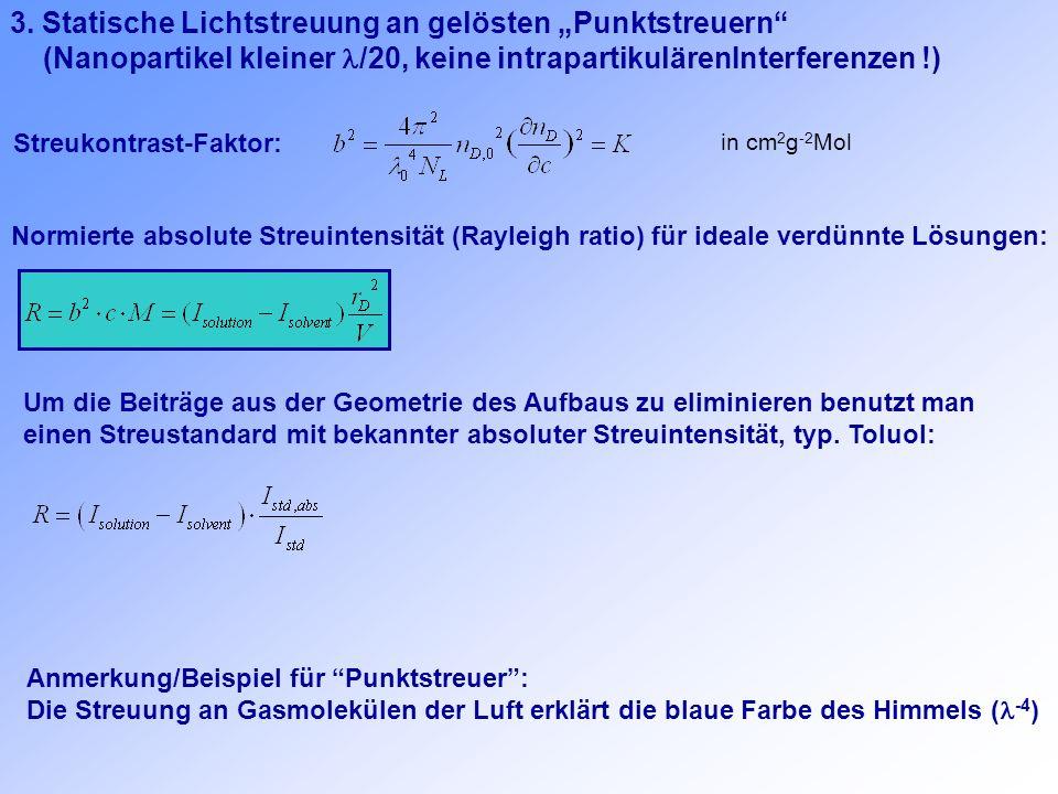 3. Statische Lichtstreuung an gelösten Punktstreuern (Nanopartikel kleiner /20, keine intrapartikulärenInterferenzen !) in cm 2 g -2 Mol Streukontrast