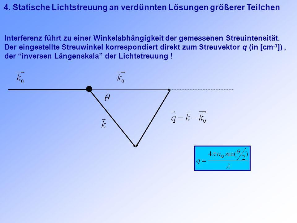 4. Statische Lichtstreuung an verdünnten Lösungen größerer Teilchen Interferenz führt zu einer Winkelabhängigkeit der gemessenen Streuintensität. Der