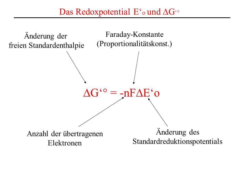 Das Redoxpotential E o und G ° G° = -nF Eo Anzahl der übertragenen Elektronen Faraday-Konstante (Proportionalitätskonst.) Änderung der freien Standard