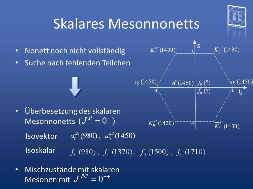 Skalares Mesonnonetts S IZIZ 1 1 Nonett noch nicht vollständig Suche nach fehlenden Teilchen Überbesetzung des skalaren Mesonnonetts Mischzustände mit
