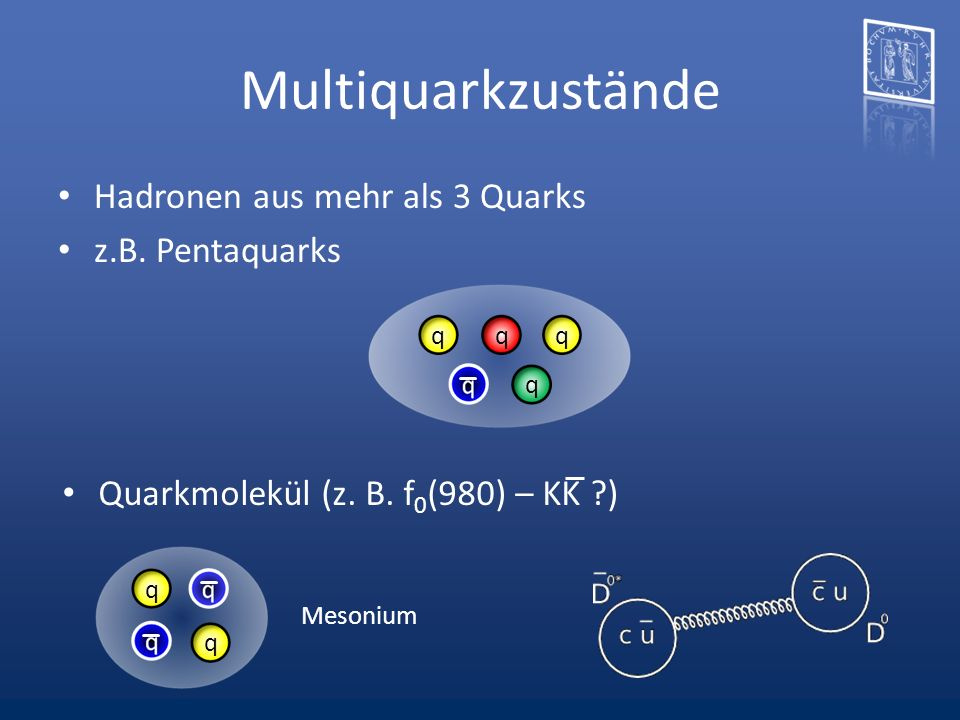 Multiquarkzustände Hadronen aus mehr als 3 Quarks z.B. Pentaquarks Quarkmolekül (z. B. f 0 (980) – KK ?) qq q q Mesonium q q