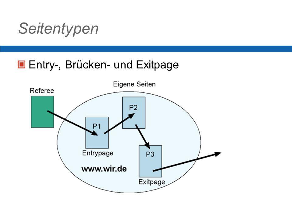 Seitentypen Entry-, Brücken- und Exitpage