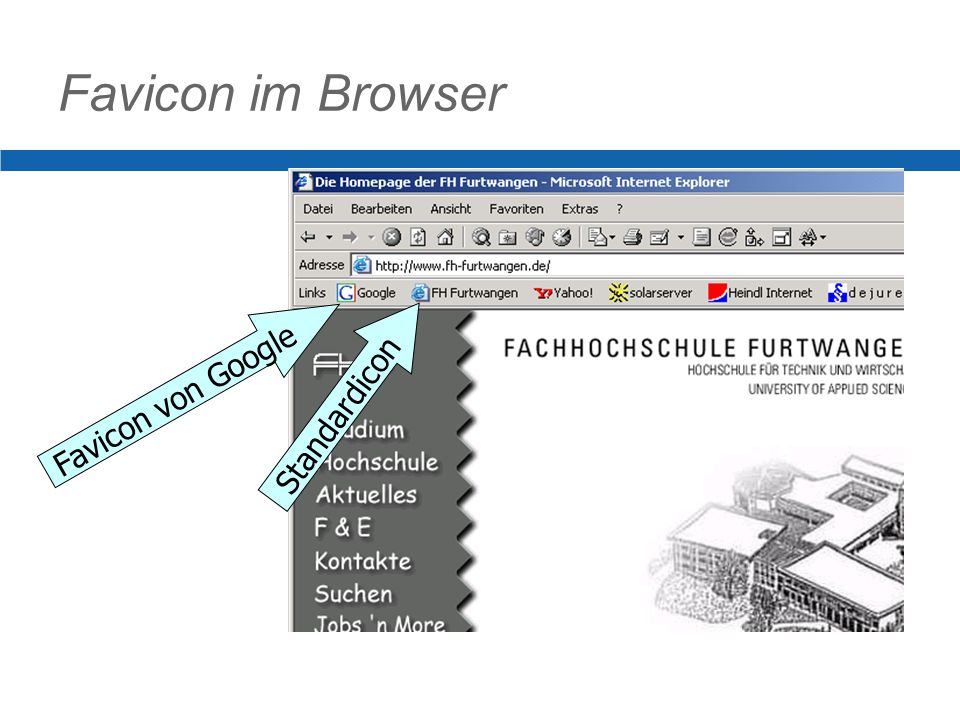 Favicon im Browser Favicon von Google Standardicon