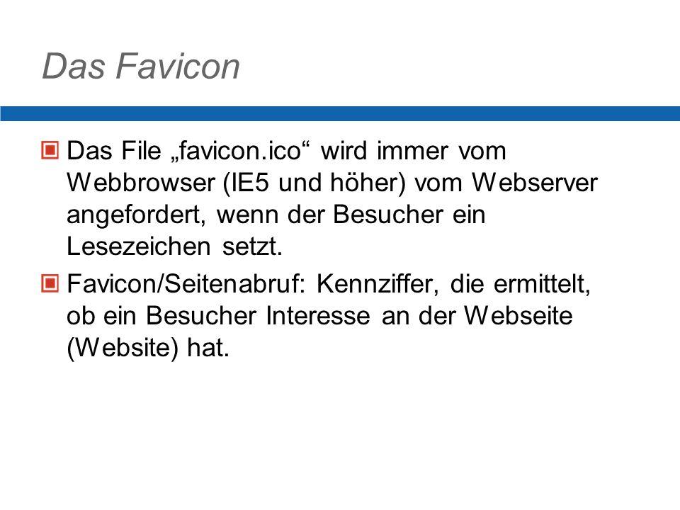 Das Favicon Das File favicon.ico wird immer vom Webbrowser (IE5 und höher) vom Webserver angefordert, wenn der Besucher ein Lesezeichen setzt.