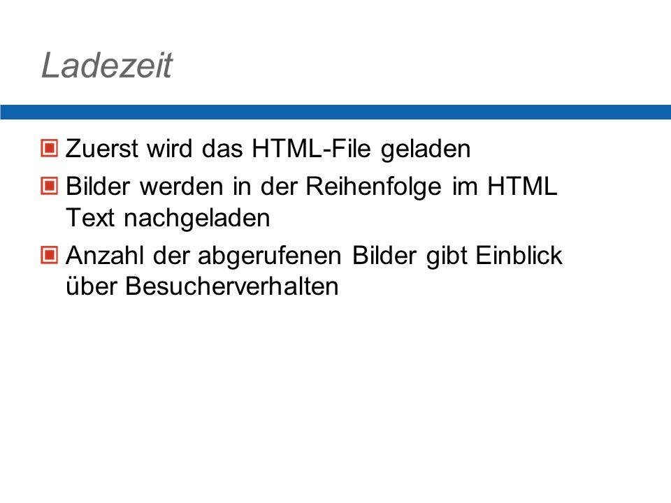 Ladezeit Zuerst wird das HTML-File geladen Bilder werden in der Reihenfolge im HTML Text nachgeladen Anzahl der abgerufenen Bilder gibt Einblick über Besucherverhalten