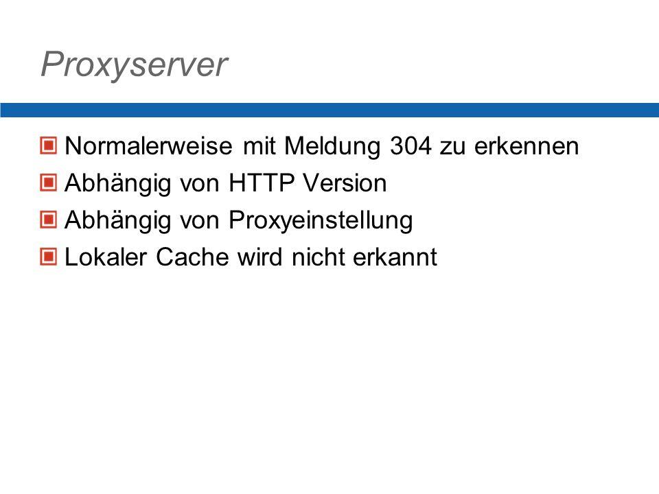 Proxyserver Normalerweise mit Meldung 304 zu erkennen Abhängig von HTTP Version Abhängig von Proxyeinstellung Lokaler Cache wird nicht erkannt