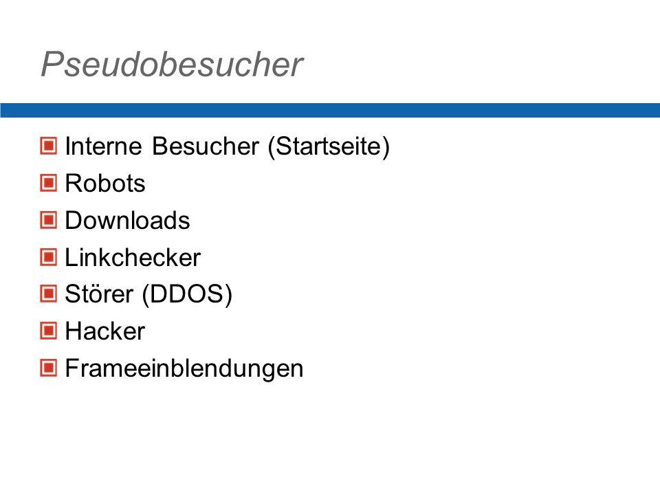 Pseudobesucher Interne Besucher (Startseite) Robots Downloads Linkchecker Störer (DDOS) Hacker Frameeinblendungen