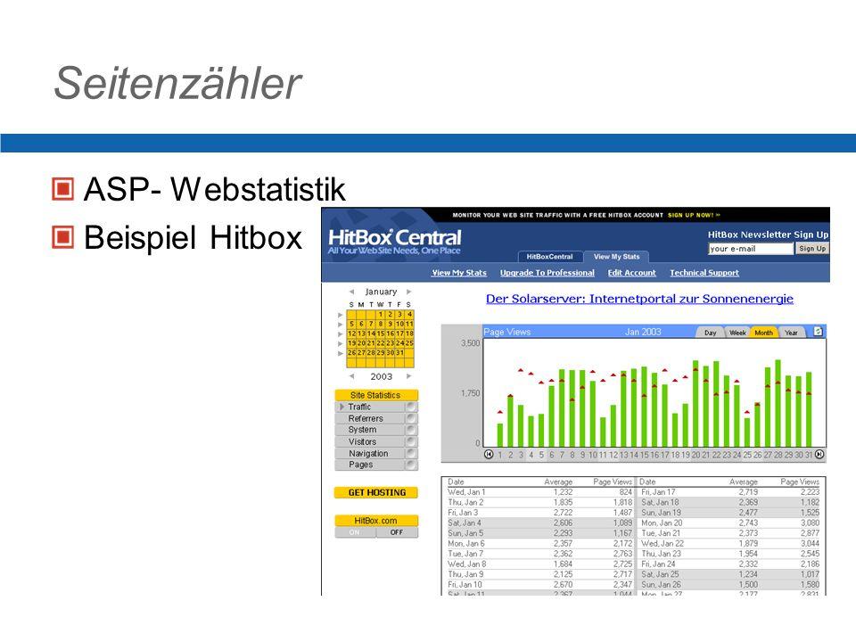 Seitenzähler ASP- Webstatistik Beispiel Hitbox