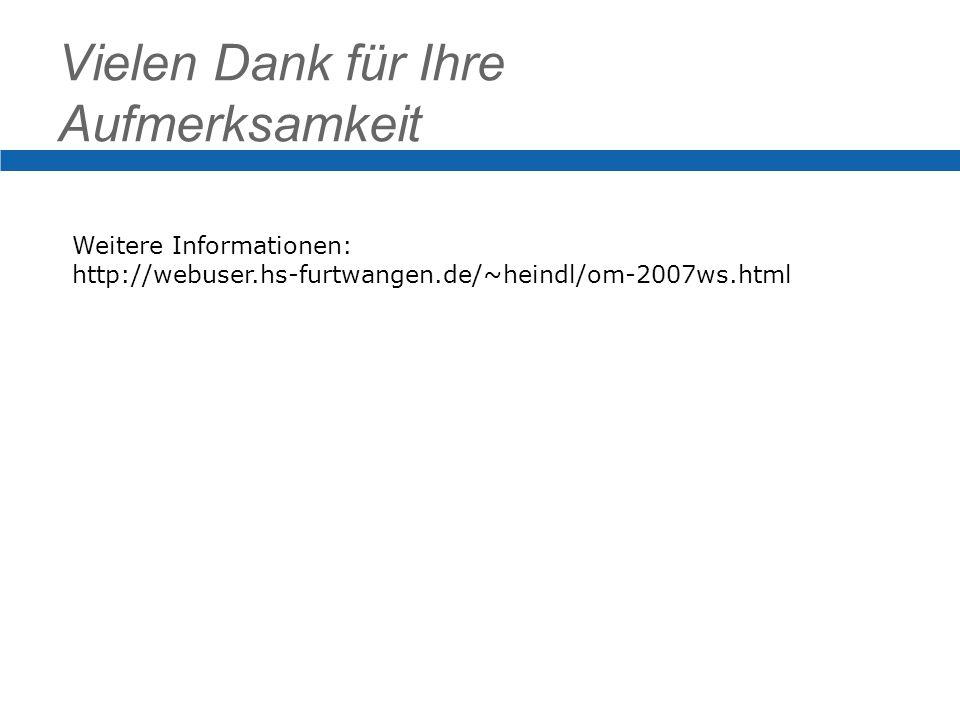 Vielen Dank für Ihre Aufmerksamkeit Weitere Informationen: http://webuser.hs-furtwangen.de/~heindl/om-2007ws.html