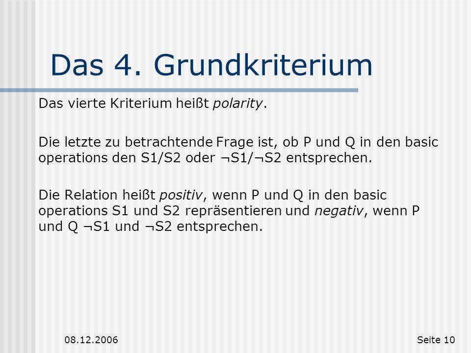 08.12.2006Seite 9 Das 3. Grundkriterium Die dritte Frage ist, in welcher Ordnung P und Q im Diskurs vorkommen. Wenn die Information im ersten Diskurss