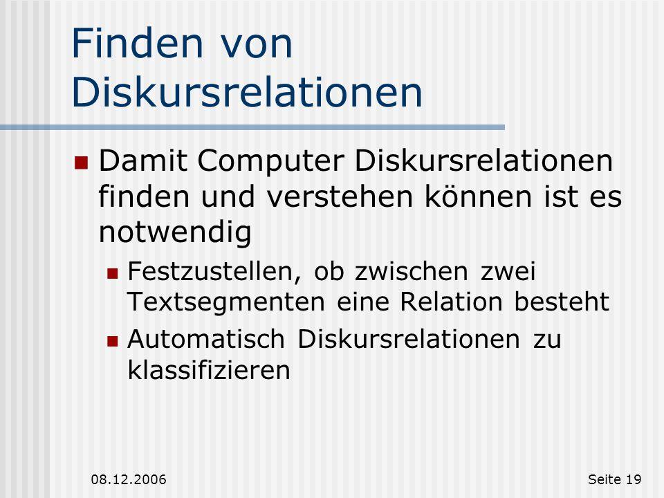 18 Diskursrelationen und ihre Markierung - Teil 2 Diskursrelationen und ihre Markierungen in der Anwendung