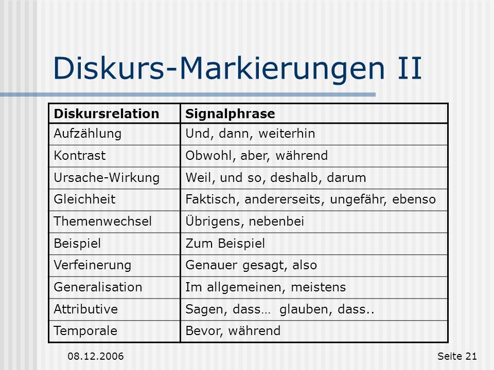 08.12.2006Seite 20 Diskurs-Markierungen Diskurs-Markierungen sind Signalphrasen die eine Diskursrelation eine Diskurs-Segmentgrenze anzeigen. Aber: Di