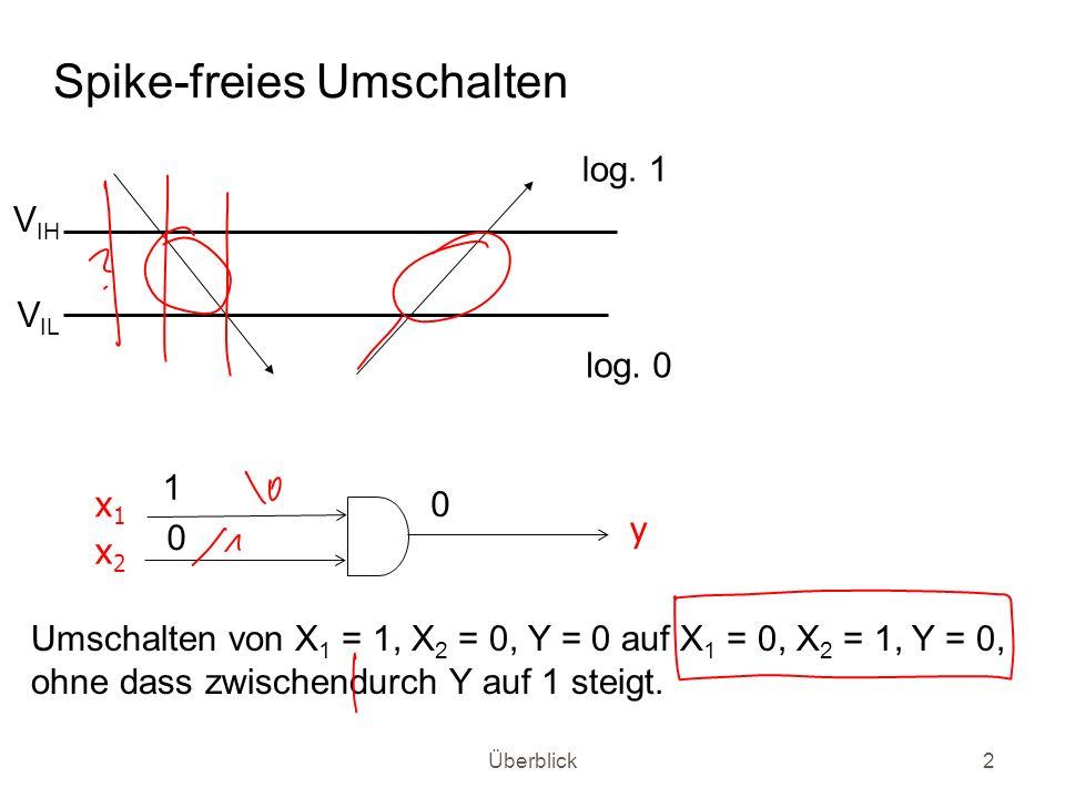 Überblick3 Übergang im RS-Flip-Flop (stabiler) Zustand Q = 0 ) (stabiler) Zustand Q = 1: /S /R Q /Q 1 1 1 0 1 0 G1G1 G2G2 ) 0 ) 1 ) 0 ) 1 Senke /S zur Zeit t 0 ab und hebe zu t 0 + x wieder an (einen solchen Signalverlauf nennt man Puls ) Nach Zeit t P/SQ ist Q = 1.