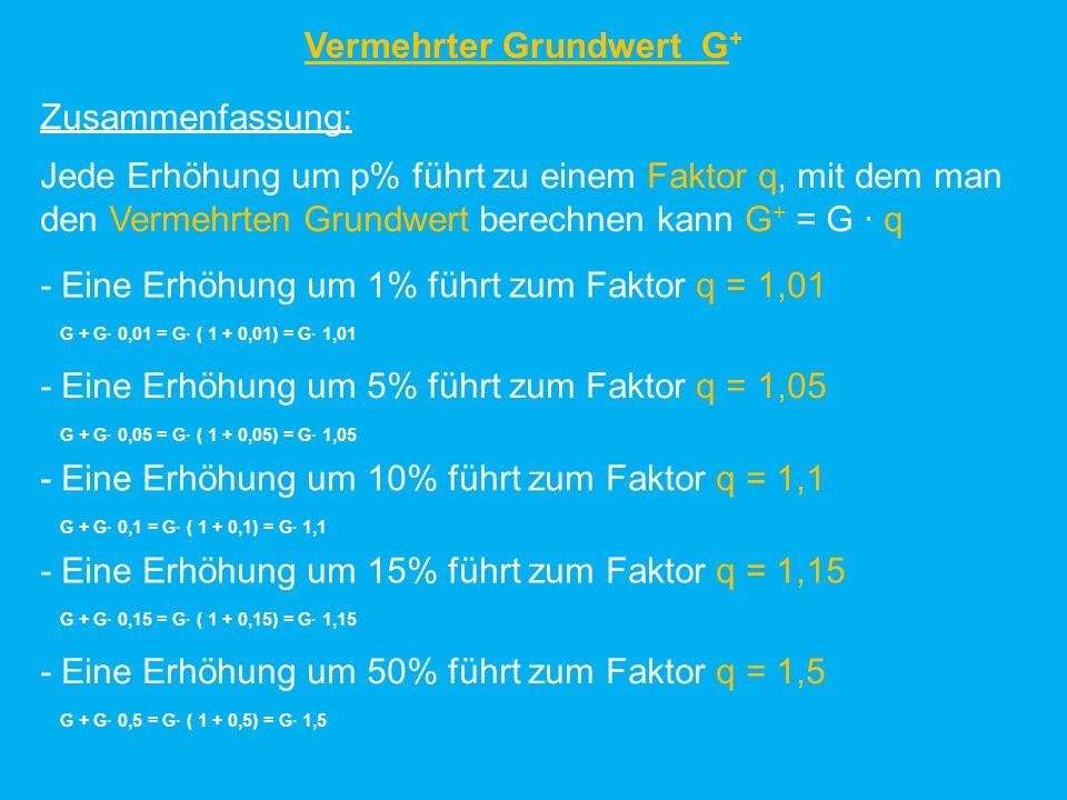 Vermehrter Grundwert G + Übung: Ergänze jeweils die Tabellen.