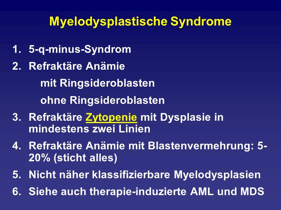 Myelodysplastische Syndrome 1.5-q-minus-Syndrom 2.Refraktäre Anämie mit Ringsideroblasten ohne Ringsideroblasten 3.Refraktäre Zytopenie mit Dysplasie