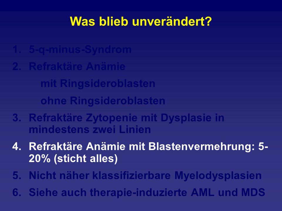 Was blieb unverändert? 1.5-q-minus-Syndrom 2.Refraktäre Anämie mit Ringsideroblasten ohne Ringsideroblasten 3.Refraktäre Zytopenie mit Dysplasie in mi