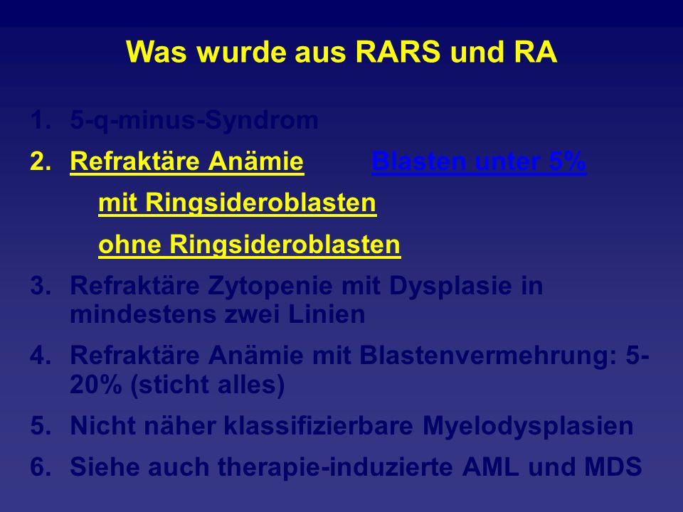 Was wurde aus RARS und RA 1.5-q-minus-Syndrom 2.Refraktäre Anämie Blasten unter 5% mit Ringsideroblasten ohne Ringsideroblasten 3.Refraktäre Zytopenie