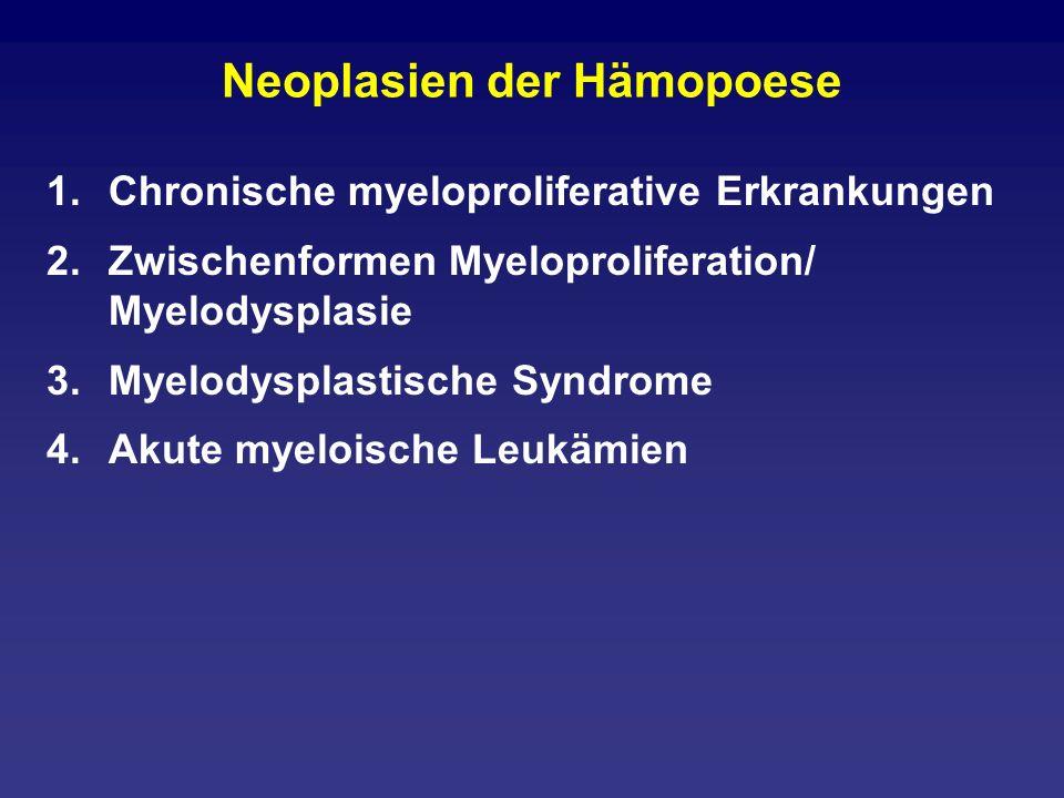 MDS mit Blasten unter 5% 1.5-q-minus-Syndrom 2.Refraktäre Anämie mit Ringsideroblasten ohne Ringsideroblasten 3.Refraktäre Zytopenie mit Dysplasie in mindestens zwei Linien 4.Refraktäre Anämie mit Blastenvermehrung: 5- 20% (sticht alles) 5.Nicht näher klassifizierbare Myelodysplasien 6.Siehe auch therapie-induzierte AML und MDS