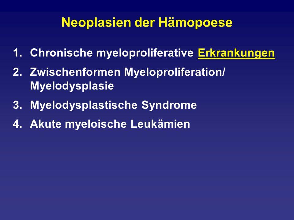 Akute myeloische Leukämien 1.Genetisch definierte AML (8;21) (15;17) (inv16) (11q23) 2.AML mit Dysplasie in mindestens zwei Linien mit vorherigem MDS ohne vorheriges MDS 3.Therapieinduzierte AML/MDS alkylantien-assoziiert epipodophyllotoxin-assoziiert andere 4.AML nicht anderweitig klassifiziert Im Prinzip die FAB-Typen plus Basophilen- Leukämie und akute Panmyelose mit Myelofibrose