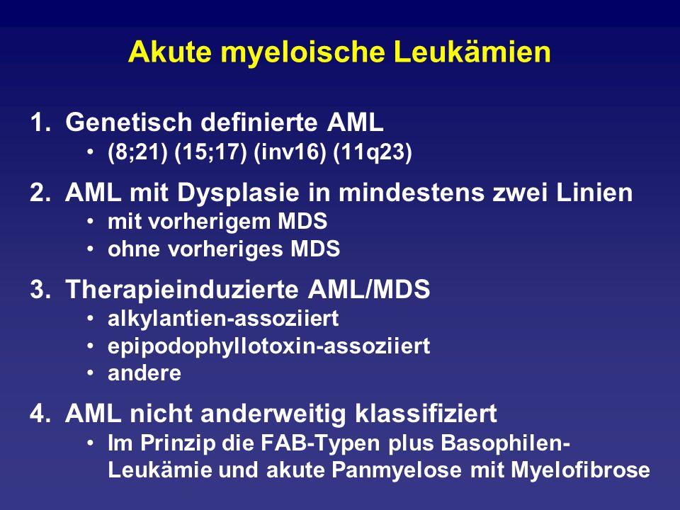 Akute myeloische Leukämien 1.Genetisch definierte AML (8;21) (15;17) (inv16) (11q23) 2.AML mit Dysplasie in mindestens zwei Linien mit vorherigem MDS