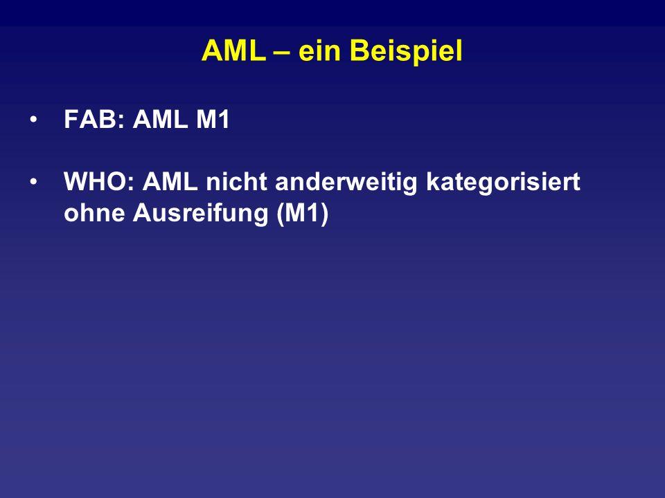 AML – ein Beispiel FAB: AML M1 WHO: AML nicht anderweitig kategorisiert ohne Ausreifung (M1)