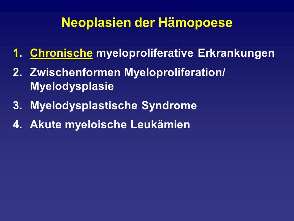 Künftige diagnostische Sequenz 1.Genetisch definierte AML (8;21) (15;17) (inv16) (11q23) 2.AML mit Dysplasie in mindestens zwei Linien mit vorherigem MDS ohne vorheriges MDS 3.Therapieinduzierte AML/MDS alkylantien-assoziiert epipodophyllotoxin-assoziiert andere 4.AML nicht anderweitig klassifiziert Im Prinzip die FAB-Typen plus Basophilen- Leukämie und akute Panmyelose mit Myelofibrose
