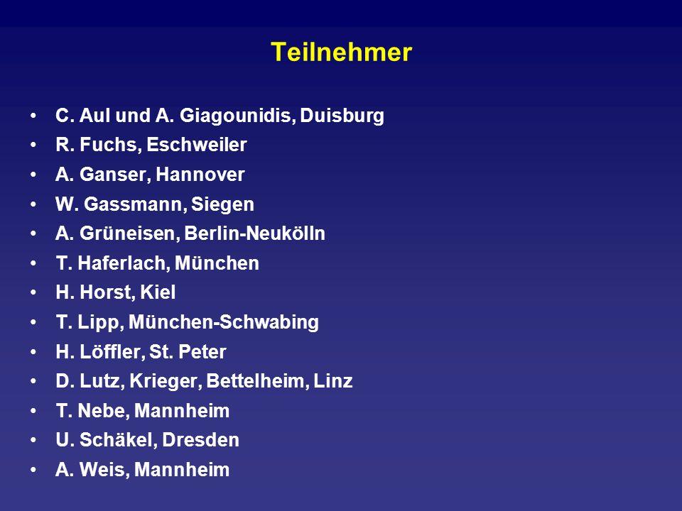Teilnehmer C. Aul und A. Giagounidis, Duisburg R. Fuchs, Eschweiler A. Ganser, Hannover W. Gassmann, Siegen A. Grüneisen, Berlin-Neukölln T. Haferlach