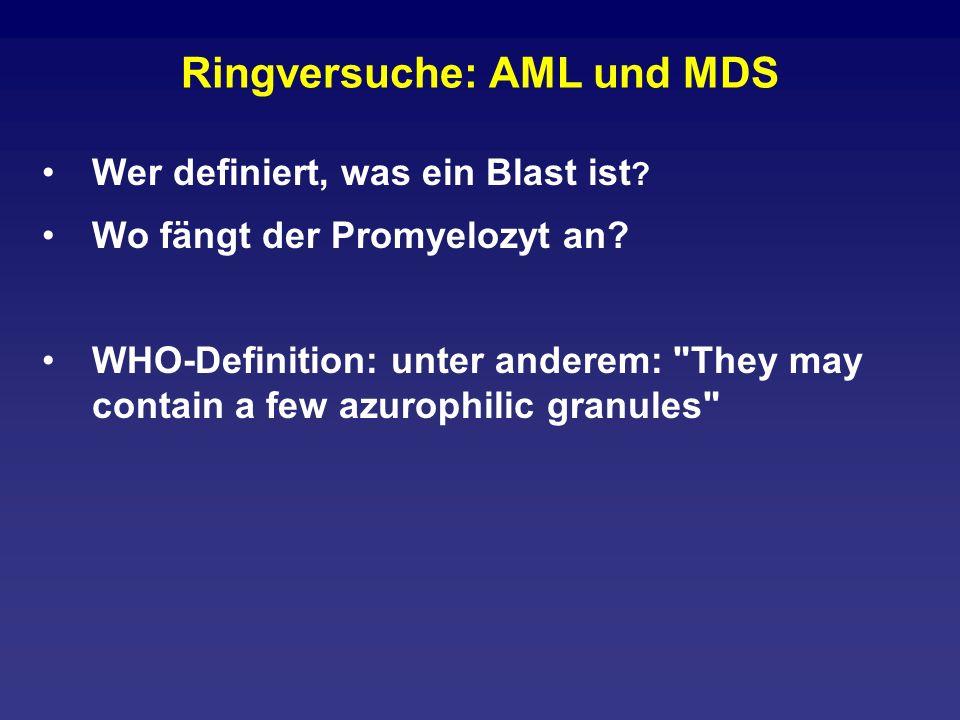 Ringversuche: AML und MDS Wer definiert, was ein Blast ist ? Wo fängt der Promyelozyt an? WHO-Definition: unter anderem: