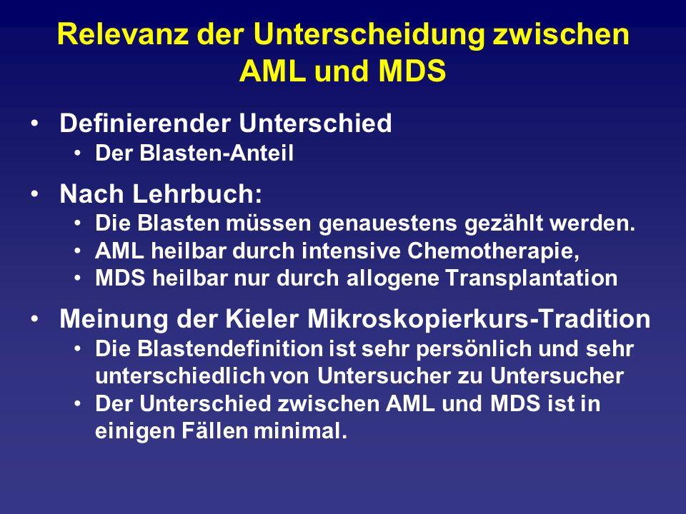 Relevanz der Unterscheidung zwischen AML und MDS Definierender Unterschied Der Blasten-Anteil Nach Lehrbuch: Die Blasten müssen genauestens gezählt we
