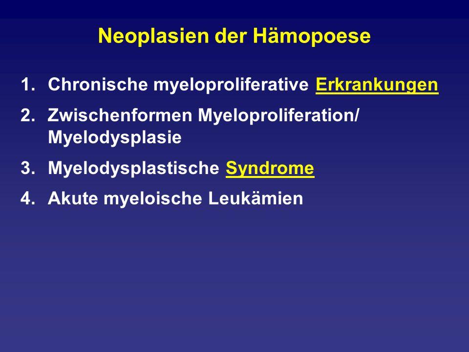 Was wurde aus RARS und RA 1.5-q-minus-Syndrom 2.Refraktäre Anämie Blasten unter 5% mit Ringsideroblasten ohne Ringsideroblasten 3.Refraktäre Zytopenie mit Dysplasie in mindestens zwei Linien 4.Refraktäre Anämie mit Blastenvermehrung: 5- 20% (sticht alles) 5.Nicht näher klassifizierbare Myelodysplasien 6.Siehe auch therapie-induzierte AML und MDS
