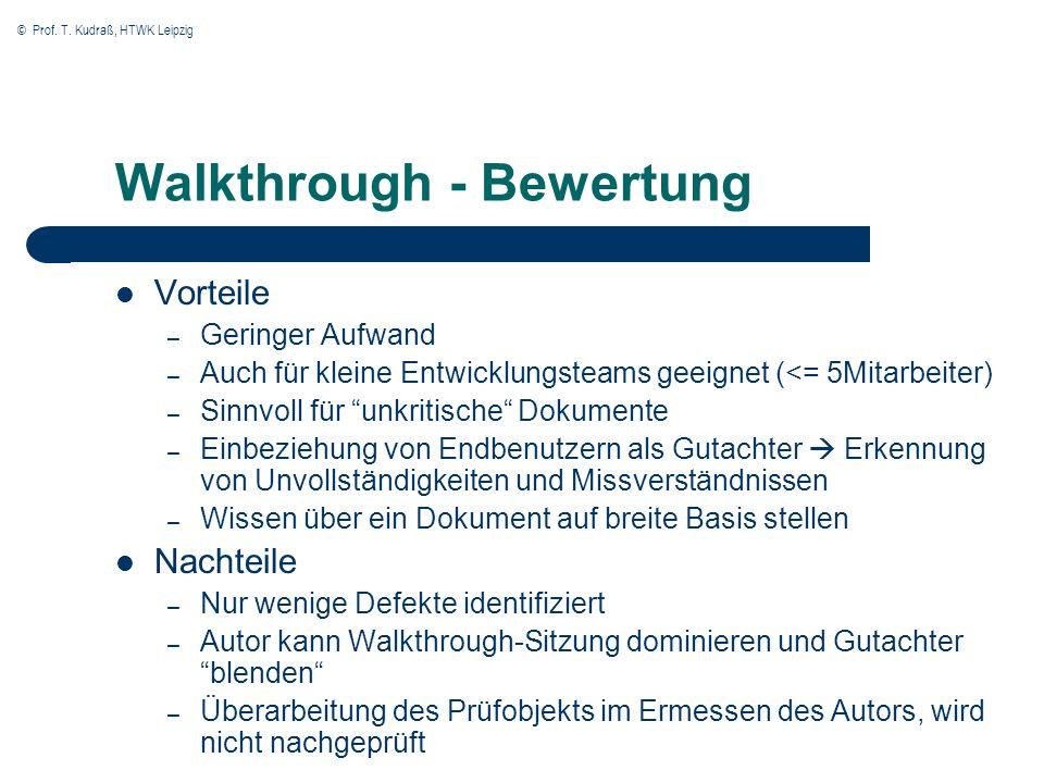 © Prof. T. Kudraß, HTWK Leipzig Walkthrough - Bewertung Vorteile – Geringer Aufwand – Auch für kleine Entwicklungsteams geeignet (<= 5Mitarbeiter) – S