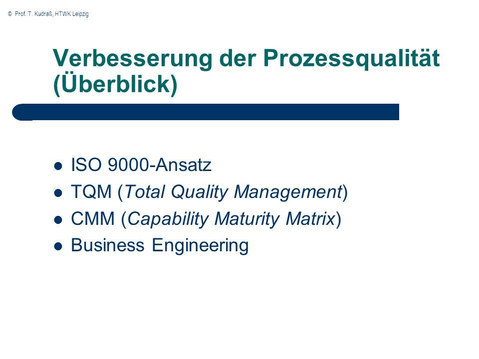 © Prof. T. Kudraß, HTWK Leipzig Verbesserung der Prozessqualität (Überblick) ISO 9000-Ansatz TQM (Total Quality Management) CMM (Capability Maturity M