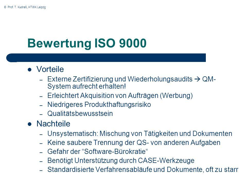 © Prof. T. Kudraß, HTWK Leipzig Bewertung ISO 9000 Vorteile – Externe Zertifizierung und Wiederholungsaudits QM- System aufrecht erhalten! – Erleichte