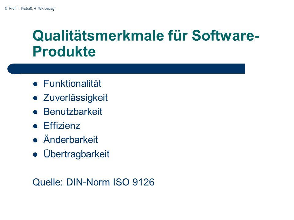 © Prof. T. Kudraß, HTWK Leipzig Qualitätsmerkmale für Software- Produkte Funktionalität Zuverlässigkeit Benutzbarkeit Effizienz Änderbarkeit Übertragb